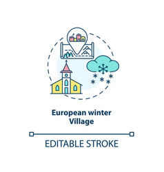 European winter village concept icon vector