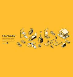 finances isometric horizontal web banner vector image
