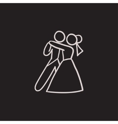 First wedding dance sketch icon vector image