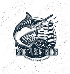 Fishing logo blue marlin or swordfish icon vector