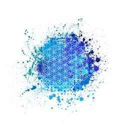 Flower life grunge blue background vector
