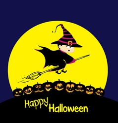 Flying cartoon witch and pumpkin Big moon Happy vector image