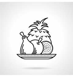 Fruit plate black line icon vector image