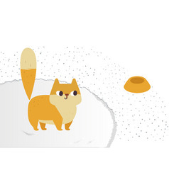 Ginger cat funny plump cat on a fluffy carpet vector