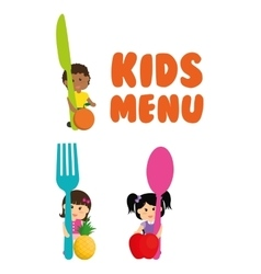 Girl boy cutlery fruits and kids menu concept vector