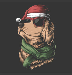 golden retriever dog wearing a santa hat vector image
