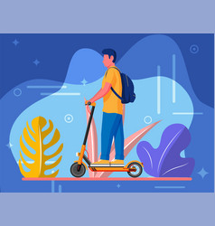 guy with backpack rolling on electric scooter vector image