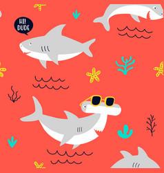 hand drawing print design little sharks seamless vector image