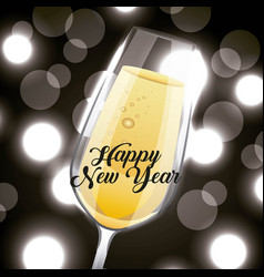 Happy new year champagne glass drink blurred vector