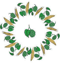 hops and malt round frame vector image