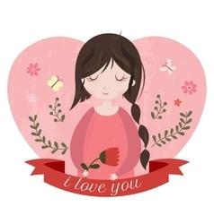 I love you card with adorable cartoon girl vector image