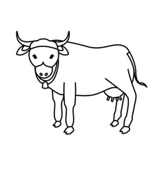 Indian sacrew cow cartoon vector