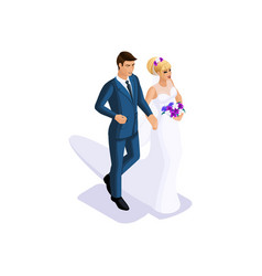 isometrics of the groom and the bride are going to vector image