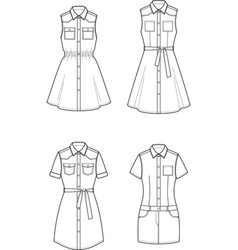 Jean dress set vector
