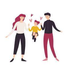 joyful father mother and daughter walking vector image