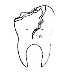 Kawaii tooth with root and broken in monochrome vector