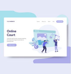 landing page template of online court concept vector image