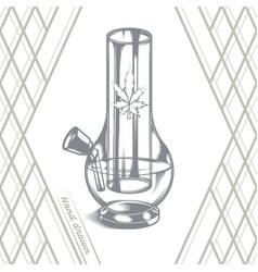 large glass bong black vector image