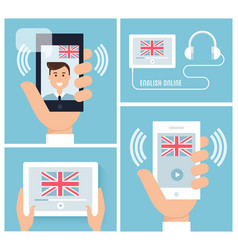learning english with mobile technology and device vector image