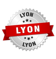 Lyon round silver badge with red ribbon vector