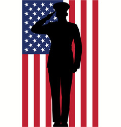 Military or police salute silhouette with usa flag vector