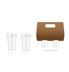mock up realistic coffee white cup packaging vector image