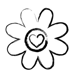 Monochrome blurred silhouette of daisy flower with vector