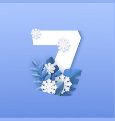 numeral 7 natural winter vector image