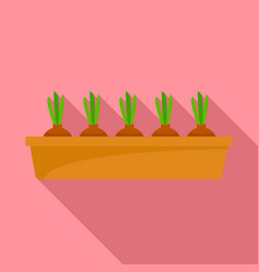 onion in ground pot icon flat style vector image