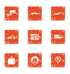 online map icons set grunge style vector image