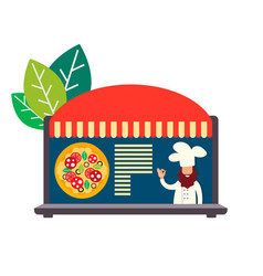 Ordering pizza online vector
