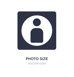 Photo size icon on white background simple vector