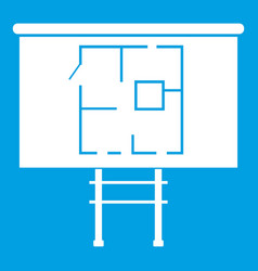 Project of house on a board icon white vector