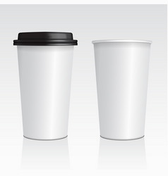 Realistic blank mock up paper cups with vector