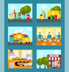 recycle garbage save ecology concept cards vector image
