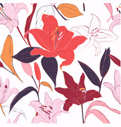 Red lilies hand-drawn background summer flowers vector