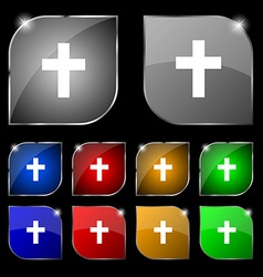 religious cross Christian icon sign Set of ten vector image