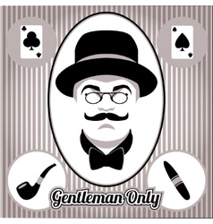 Retro gentleman face and accessories isolated vector