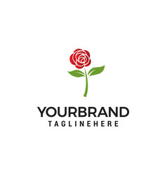 Rose flower logo design concept template vector