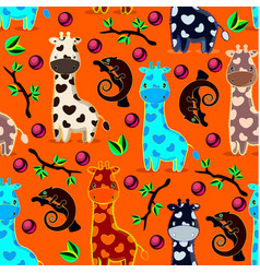Seamles pattern with giraffes chameleons branches vector