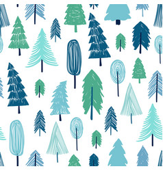 seamless pattern of winter forest vector image