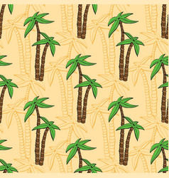 seamless pattern with cartoon palms on beach vector image