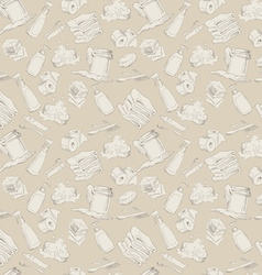 Seamless pattern with hand-drawn hygiene elements vector image