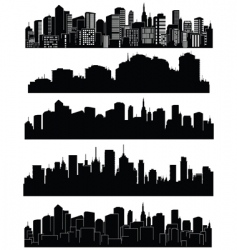 Set cities silhouettes vector