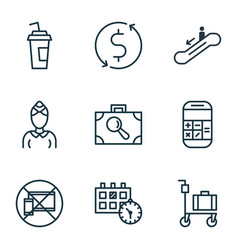 Set of 9 airport icons includes hostess drink vector