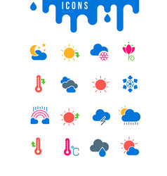 set simple icons weather vector image