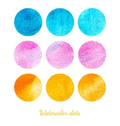set watercolor dots vector image