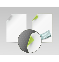 Sheets with turned edge isolated on white backgrou vector
