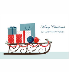 sleigh filled with gift boxes and shopping bags vector image