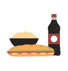 Soda and pop corn with sandwich vector